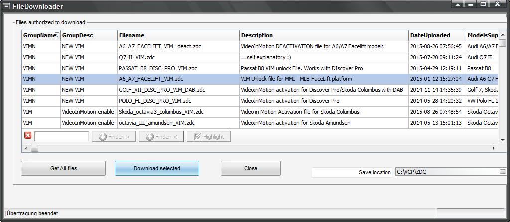 VIM File Freischaltung für VCP Interface
