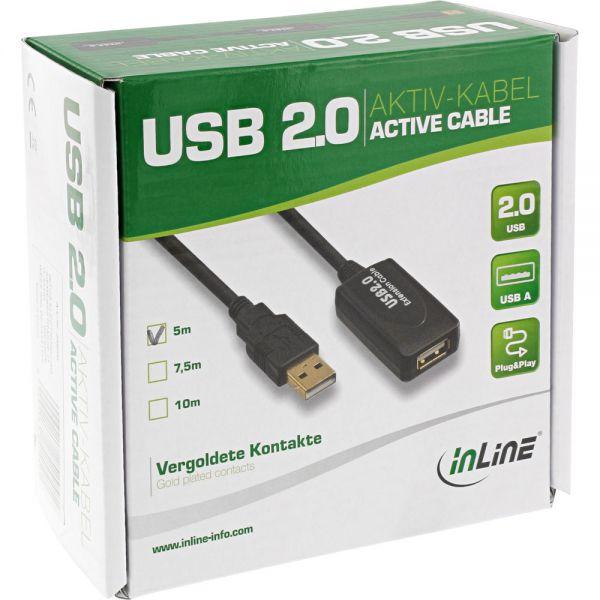 """InLine USB 2.0 Aktiv-Verlängerung, mit Signalverstärkung """"Repeater"""", Stecker A an Buchse A, 5m"""