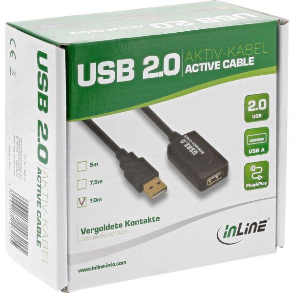 """InLine USB 2.0 Aktiv-Verlängerung, mit Signalverstärkung """"Repeater"""", Stecker A an Buchse A, 10m"""
